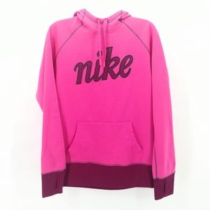 NIKE Hot Pink Therma-Fit Spell Out Cursive Hoodie